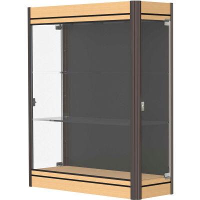 "Contempo Lighted Wall Case, Black Back, Light Maple Base, Dark Bronze Frame, 36""L x 44""H x 14""D"