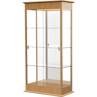 "Varsity Display Case Carmel Oak, Mirror Back 36""W x 18""D x 77""H"