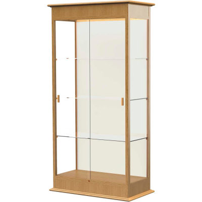 "Varsity Display Case Carmel Oak, Fabric Back 36""W x 18""D x 77""H"