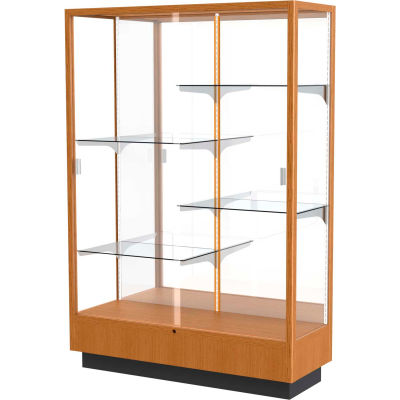 "Heritage Display Case Carmel Oak, Mirror Back 48""W x 18""D x 70""H"