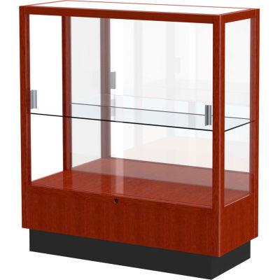 "Heritage Counter Case, Mirror Back, Cherry Oak Frame, 36""L x 40""H x 14""D"