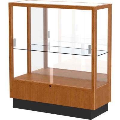 "Heritage Display Case Carmel Oak, Mirror Back 36""W x 14""D x 40""H"