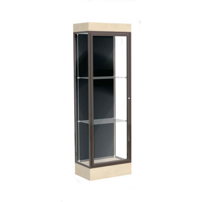 "Edge Lighted Floor Case, Black Back, Dark Bronze Frame, 6"" Chardonnay Base, 24""W x 76""H x 20""D"
