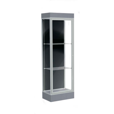 "Edge Lighted Floor Case, Black Back, Satin Frame, 6"" Carbon Mesh Base, 24""W x 76""H x 20""D"