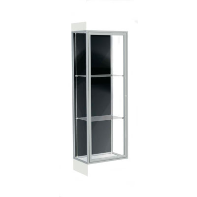 "Edge Lighted Floor Case, Black Back, Satin Frame, 6"" Frosty White Base, 24""W x 76""H x 20""D"