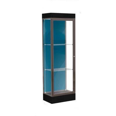"""Edge Lighted Floor Case, Blue Steel Back, Dark Bronze Frame, 6"""" Black Base, 24""""W x 76""""H x 20""""D"""