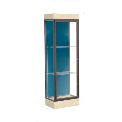 "Edge Lighted Floor Case, Blue Steel Back, Dark Bronze Frame, 6"" Chardonnay Base, 24""W x 76""H x 20""D"