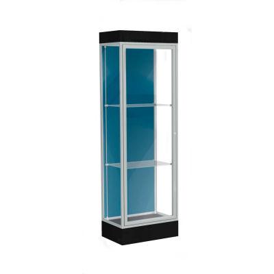"Edge Lighted Floor Case, Blue Steel Back, Satin Frame, 6"" Black Base, 24""W x 76""H x 20""D"