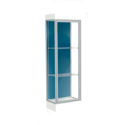 "Edge Lighted Floor Case, Blue Steel Back, Satin Frame, 6"" Frosty White Base, 24""W x 76""H x 20""D"