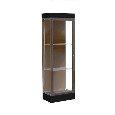 "Edge Lighted Floor Case, Chocolate Back, Dark Bronze Frame, 6"" Black Base, 24""W x 76""H x 20""D"
