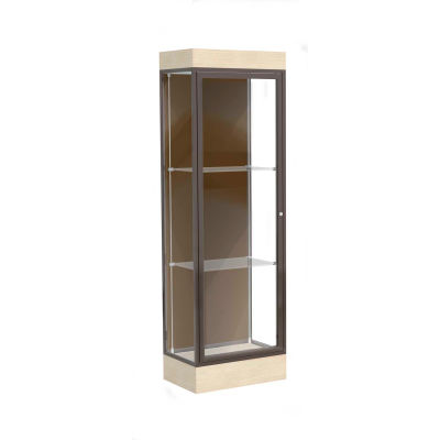 "Edge Lighted Floor Case, Chocolate Back, Dark Bronze Frame, 6"" Chardonnay Base, 24""W x 76""H x 20""D"