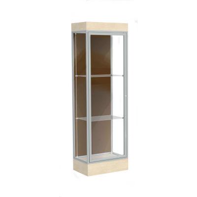 """Edge Lighted Floor Case, Chocolate Back, Satin Frame, 6"""" Chardonnay Base, 24""""W x 76""""H x 20""""D"""