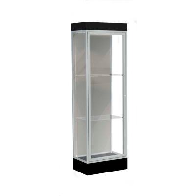 "Edge Lighted Floor Case, Harbor Back, Satin Frame, 6"" Black Base, 24""W x 76""H x 20""D"