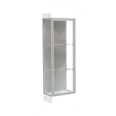 "Edge Lighted Floor Case, Harbor Back, Satin Frame, 6"" Frosty White Base, 24""W x 76""H x 20""D"