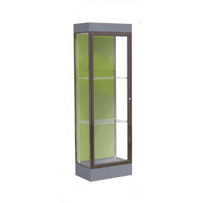 "Edge Lighted Floor Case, Pale Green Back, Dark Bronze Frame, 6"" Carbon Mesh Base, 24""W x 76""H x 20""D"