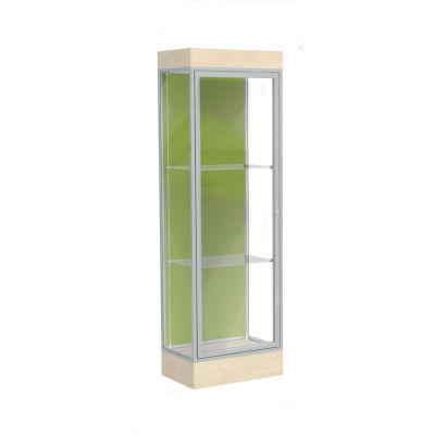 "Edge Lighted Floor Case, Pale Green Back, Satin Frame, 6"" Chardonnay Base, 24""W x 76""H x 20""D"