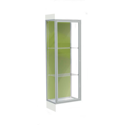 "Edge Lighted Floor Case, Pale Green Back, Satin Frame, 6"" Frosty White Base, 24""W x 76""H x 20""D"
