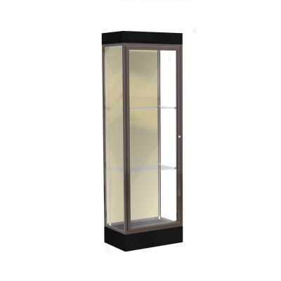 "Edge Lighted Floor Case, Silk Back, Dark Bronze Frame, 6"" Black Base, 24""W x 76""H x 20""D"