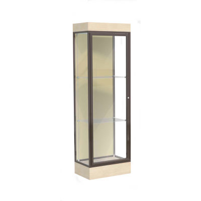 "Edge Lighted Floor Case, Silk Back, Dark Bronze Frame, 6"" Chardonnay Base, 24""W x 76""H x 20""D"