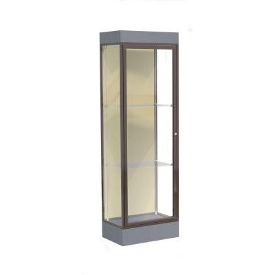 "Edge Lighted Floor Case, Silk Back, Dark Bronze Frame, 6"" Carbon Mesh Base, 24""W x 76""H x 20""D"
