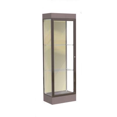 """Edge Lighted Floor Case, Silk Back, Dark Bronze Frame, 6"""" Morro Zephyr Base, 24""""W x 76""""H x 20""""D"""