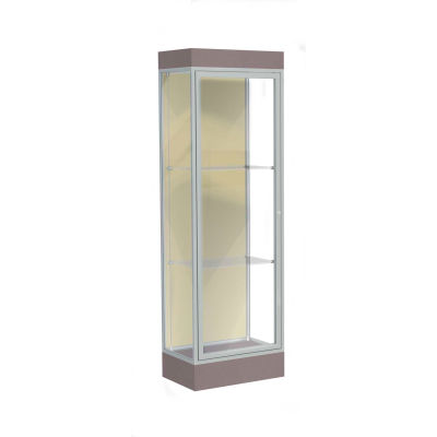 "Edge Lighted Floor Case, Silk Back, Satin Frame, 6"" Morro Zephyr Base, 24""W x 76""H x 20""D"