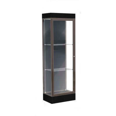 "Edge Lighted Floor Case, Slate Back, Dark Bronze Frame, 6"" Black Base, 24""W x 76""H x 20""D"