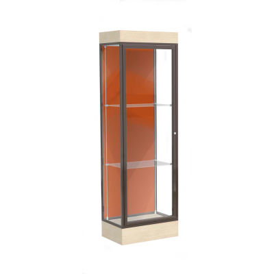 "Edge Lighted Floor Case, Terra Cotta Back, Dark Bronze Frame, 6"" Chardonnay Base, 24""W x 76""H x 20""D"