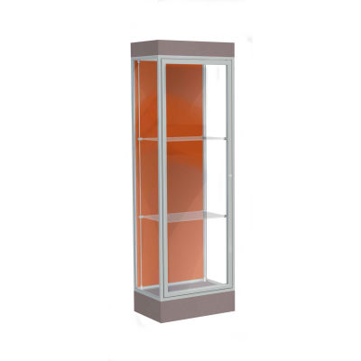 "Edge Lighted Floor Case, Terra Cotta Back, Satin Frame, 6"" Morro Zephyr Base, 24""W x 76""H x 20""D"