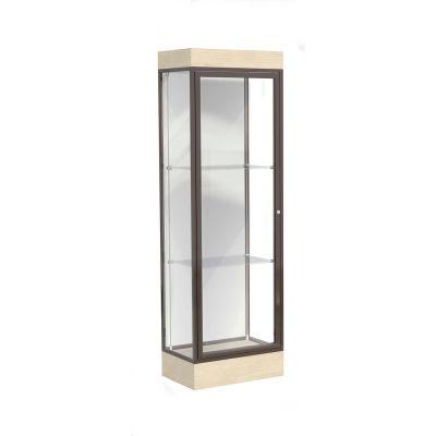 """Edge Lighted Floor Case, White Back, Dark Bronze Frame, 6"""" Chardonnay Base, 24""""W x 76""""H x 20""""D"""