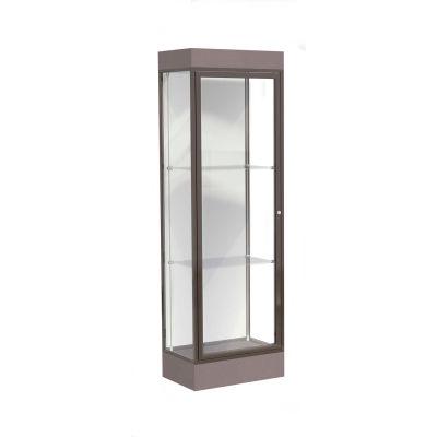 """Edge Lighted Floor Case, White Back, Dark Bronze Frame, 6"""" Morro Zephyr Base, 24""""W x 76""""H x 20""""D"""