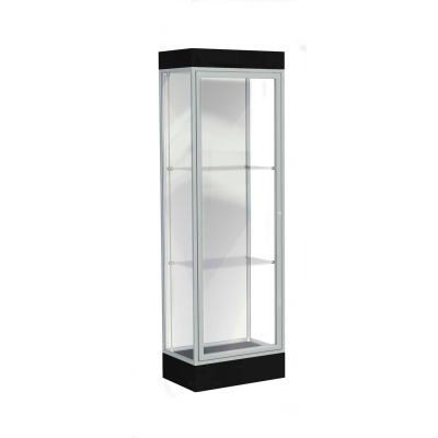 "Edge Lighted Floor Case, White Back, Satin Frame, 6"" Black Base, 24""W x 76""H x 20""D"