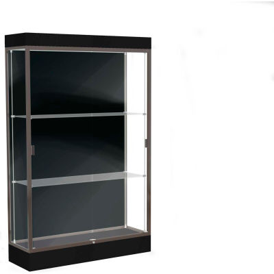 "Edge Lighted Floor Case, Black Back, Dark Bronze Frame, 6"" Black Base, 48""W x 76""H x 20""D"
