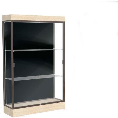 "Edge Lighted Floor Case, Black Back, Dark Bronze Frame, 6"" Chardonnay Base, 48""W x 76""H x 20""D"