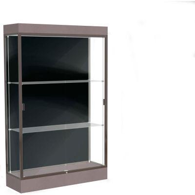 """Edge Lighted Floor Case, Black Back, Dark Bronze Frame, 6"""" Morro Zephyr Base, 48""""W x 76""""H x 20""""D"""