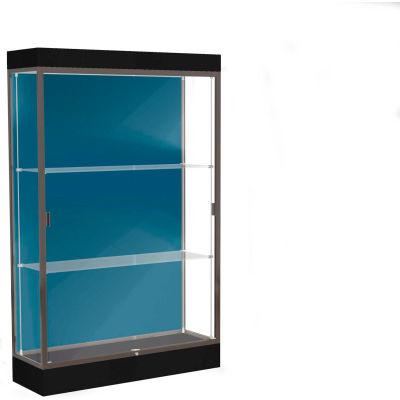 """Edge Lighted Floor Case, Blue Steel Back, Dark Bronze Frame, 6"""" Black Base, 48""""W x 76""""H x 20""""D"""