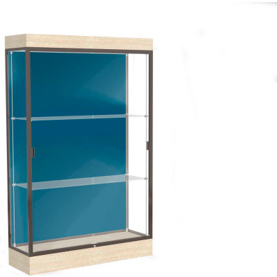 "Edge Lighted Floor Case, Blue Steel Back, Dark Bronze Frame, 6"" Chardonnay Base, 48""W x 76""H x 20""D"