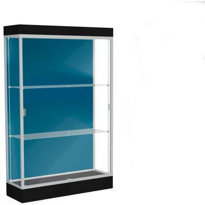 "Edge Lighted Floor Case, Blue Steel Back, Satin Frame, 6"" Black Base, 48""W x 76""H x 20""D"