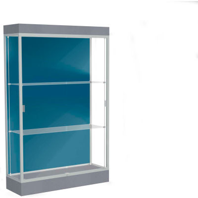 "Edge Lighted Floor Case, Blue Steel Back, Satin Frame, 6"" Carbon Mesh Base, 48""W x 76""H x 20""D"