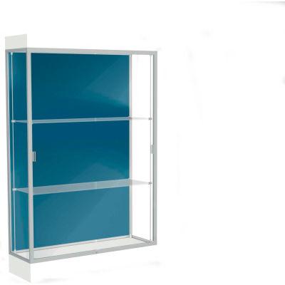 """Edge Lighted Floor Case, Blue Steel Back, Satin Frame, 6"""" Frosty White Base, 48""""W x 76""""H x 20""""D"""