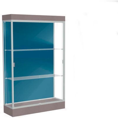 """Edge Lighted Floor Case, Blue Steel Back, Satin Frame, 6"""" Morro Zephyr Base, 48""""W x 76""""H x 20""""D"""