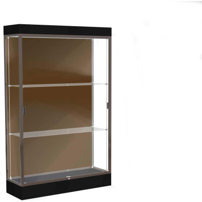 "Edge Lighted Floor Case, Chocolate Back, Dark Bronze Frame, 6"" Black Base, 48""W x 76""H x 20""D"