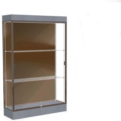 "Edge Lighted Floor Case, Chocolate Back, Dark Bronze Frame, 6"" Carbon Mesh Base, 48""W x 76""H x 20""D"