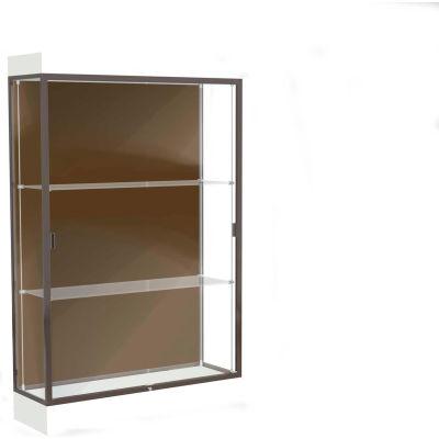 "Edge Lighted Floor Case, Chocolate Back, Dark Bronze Frame, 6"" Frosty White Base, 48""W x 76""H x 20""D"