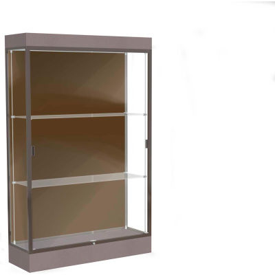 "Edge Lighted Floor Case, Chocolate Back, Dark Bronze Frame, 6"" Morro Zephyr Base, 48""W x 76""H x 20""D"