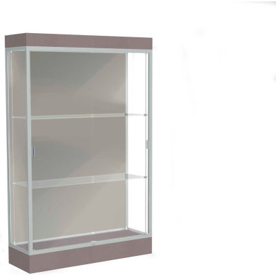"Edge Lighted Floor Case, Harbor Back, Satin Frame, 6"" Morro Zephyr Base, 48""W x 76""H x 20""D"
