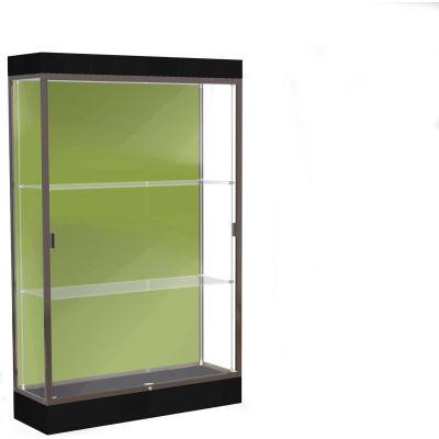 """Edge Lighted Floor Case, Pale Green Back, Dark Bronze Frame, 6"""" Black Base, 48""""W x 76""""H x 20""""D"""