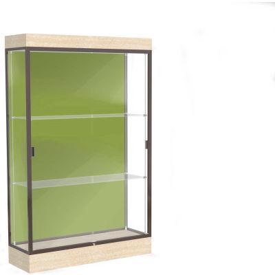 "Edge Lighted Floor Case, Pale Green Back, Dark Bronze Frame, 6"" Chardonnay Base, 48""W x 76""H x 20""D"