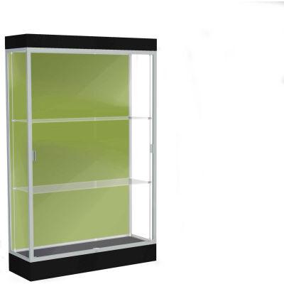 "Edge Lighted Floor Case, Pale Green Back, Satin Frame, 6"" Black Base, 48""W x 76""H x 20""D"