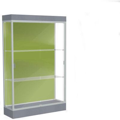 "Edge Lighted Floor Case, Pale Green Back, Satin Frame, 6"" Carbon Mesh Base, 48""W x 76""H x 20""D"